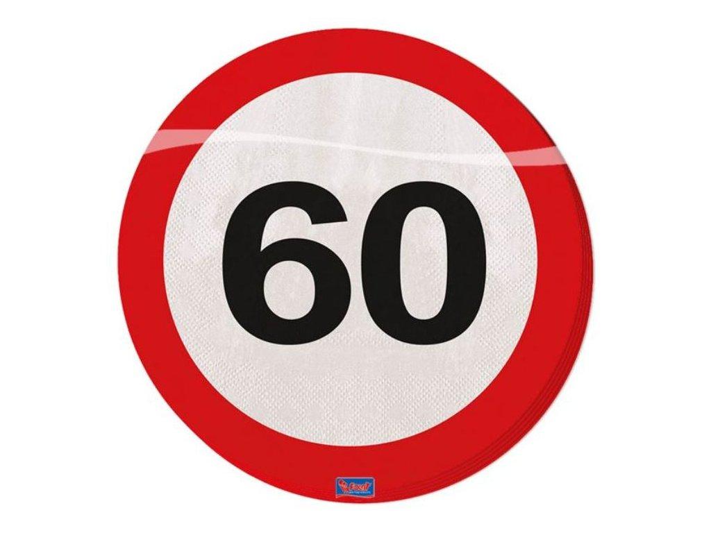 Ubrousky dopravní značka 60, 33x33cm 20ks/bal.