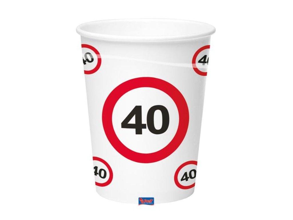 Kelímky dopravní značka 40, 350ml 8ks/bal.