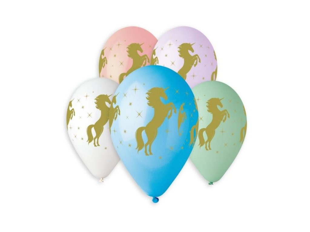 Balónek pastel 30 cm potisk zlatý jednorožec / unicorn 1 ks