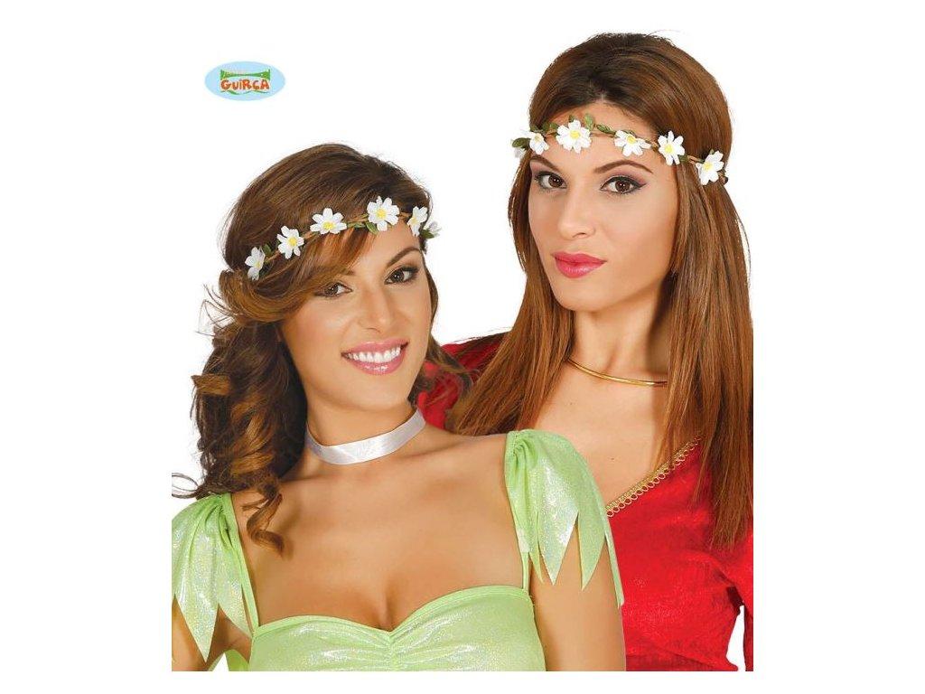 Čelenka - bílé kytičky - květy - Hippie - Hipís