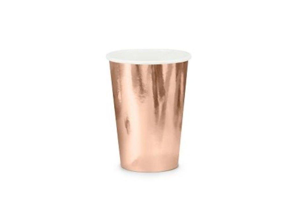 Papírové kelímky, růžovo zlaté - rose gold, 220ml, 6 ks