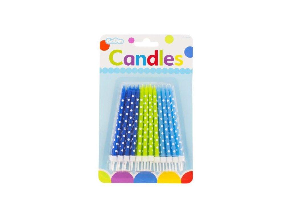 Narozeninové svíčky zeleno-modré s puntíky - 24 ks - 11,5 cm