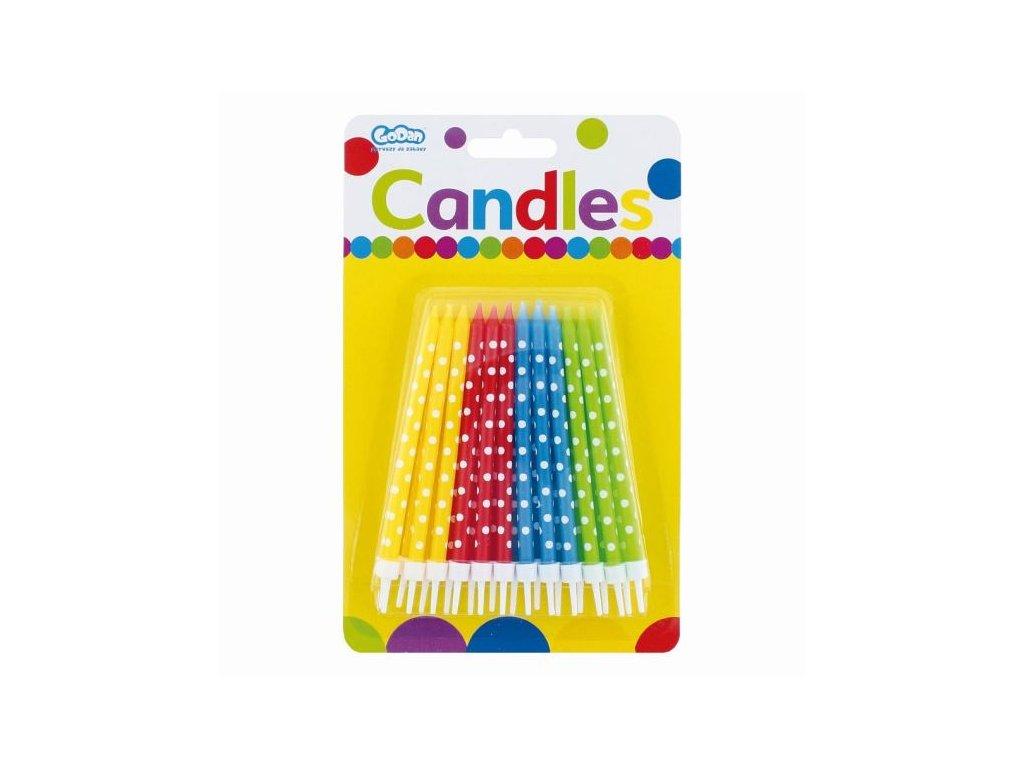 Narozeninové svíčky barevné s puntíky - 24 ks - 11,5 cm