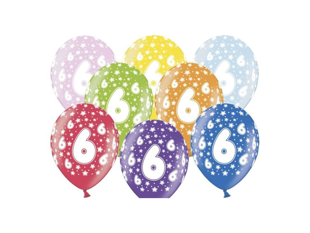 Silné Balónky 30cm metalické mix - narozeniny - Birthday No.6