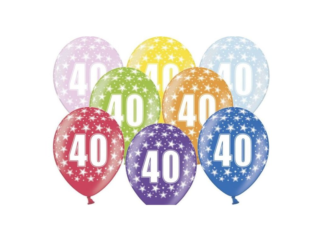 Silné Balónky 30cm metalické mix - narozeniny - Birthday No.40