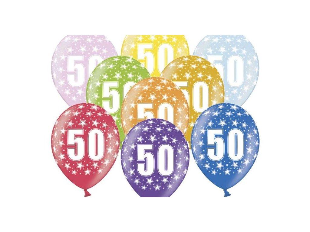 Silné Balónky 30cm metalické mix - narozeniny - Birthday No.50