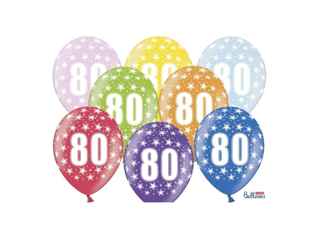 Silné Balónky 30cm metalické mix - narozeniny - Birthday No.80