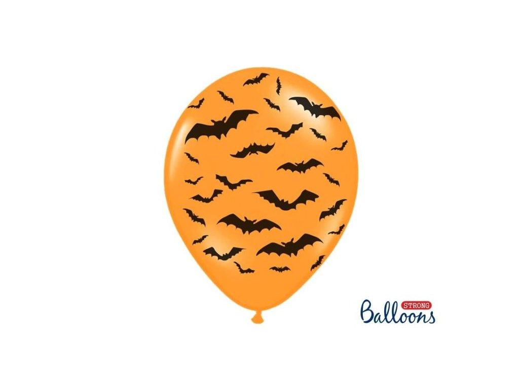 Silné Balónky 30cm PASTELOVÉ - ORANŽOVÉ netopýři - 1 ks - Halloween