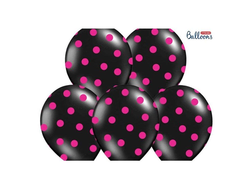 Silné Balónky 30 cm PASTEL ČERNÉ - růžový puntík - 1ks - Rozlučka se svobodou