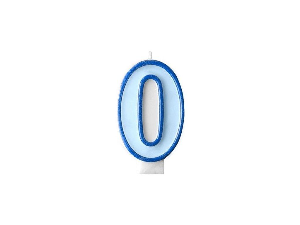 Narozeninová svíčka 0, modrá, 7 cm