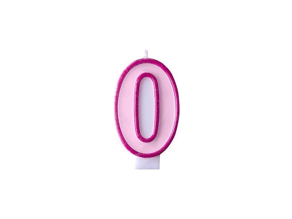 Narozeninová svíčka 0, růžová, 7 cm