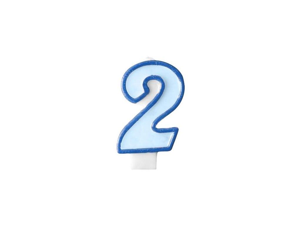 Narozeninová svíčka 2, modrá, 7 cm
