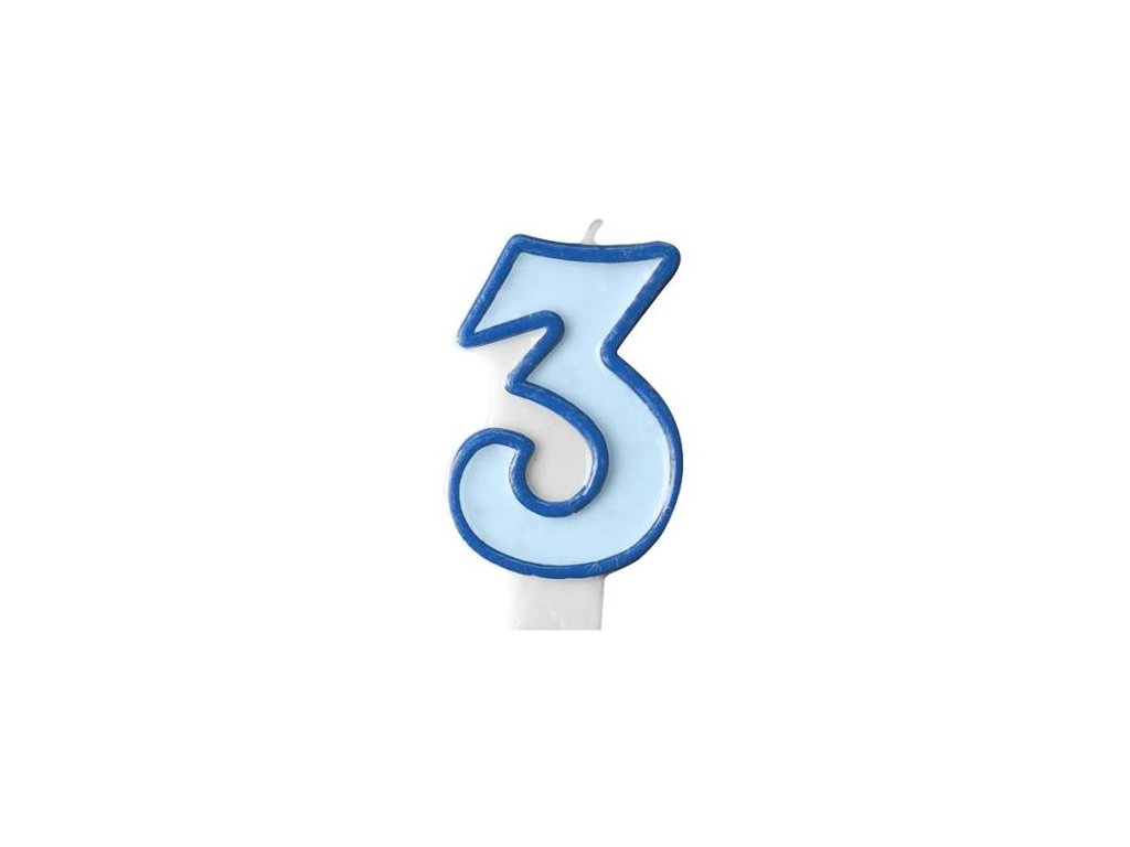 Narozeninová svíčka 3, modrá, 7 cm