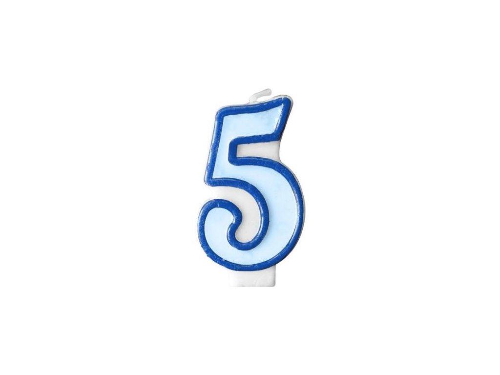 Narozeninová svíčka 5, modrá, 7 cm