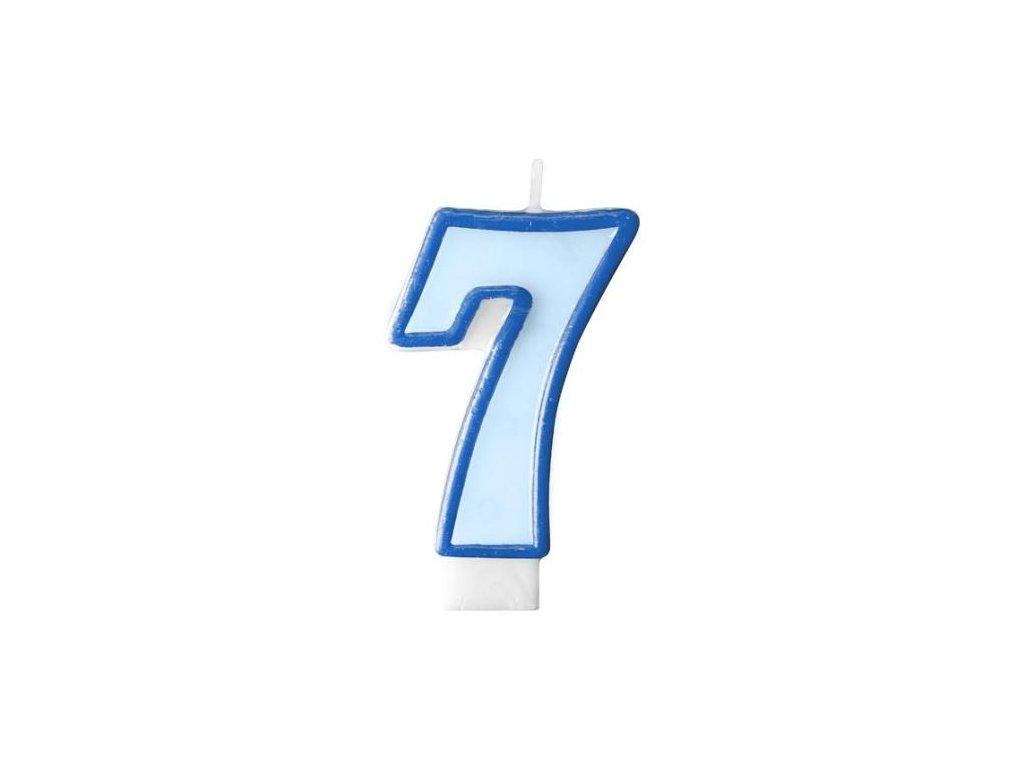 Narozeninová svíčka 7, modrá, 7 cm