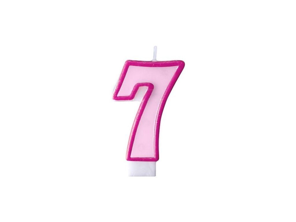 Narozeninová svíčka 7, růžová, 7 cm