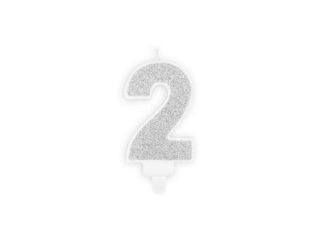 Narozeninová svíčka 2, stříbrná, 7cm