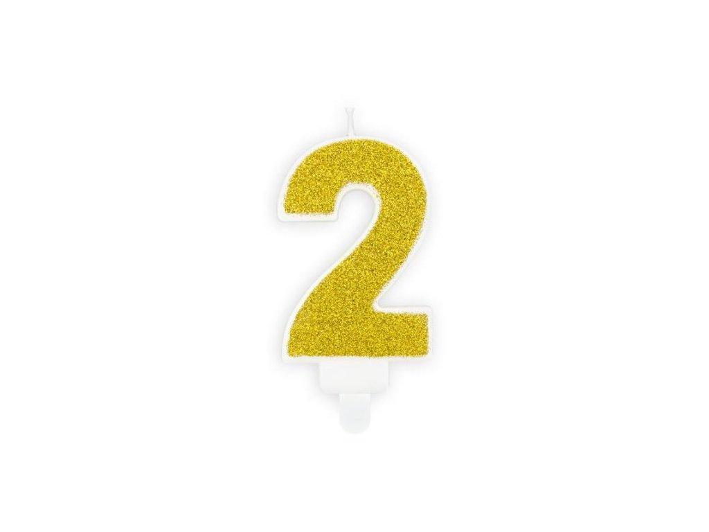 Narozeninová svíčka 2, zlatá, 7cm