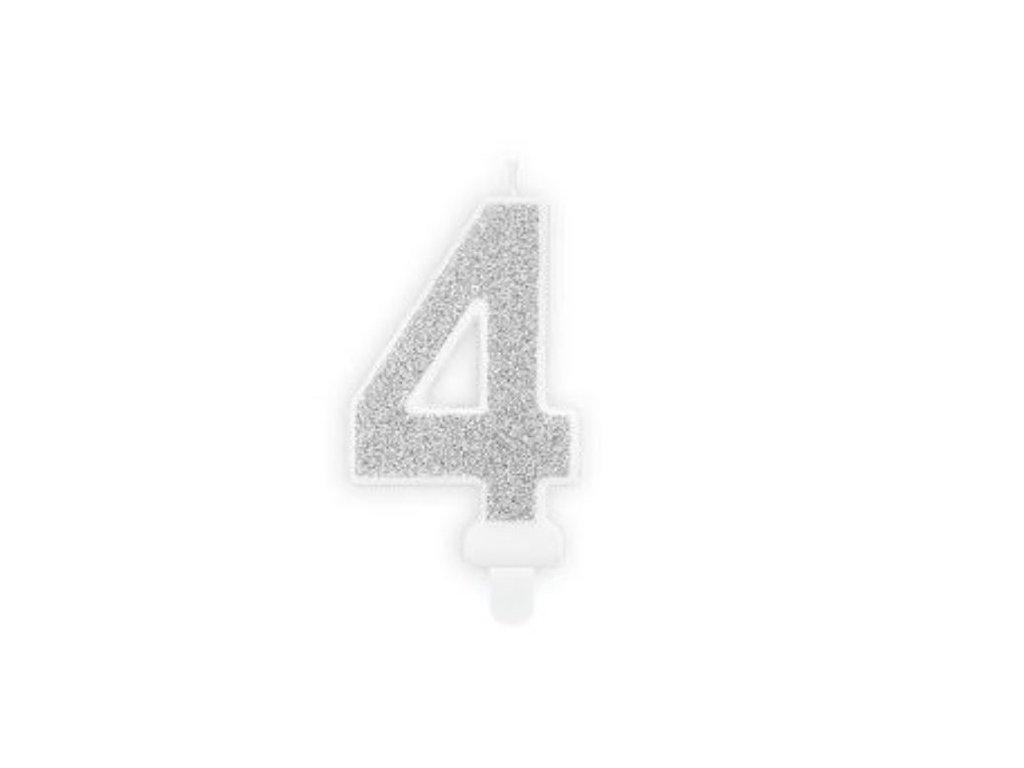 Narozeninová svíčka 4, stříbrná, 7cm