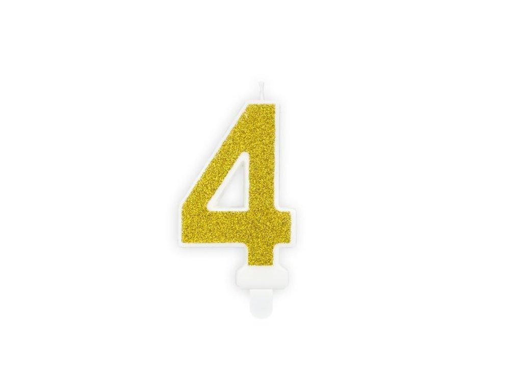 Narozeninová svíčka 4, zlatá, 7cm