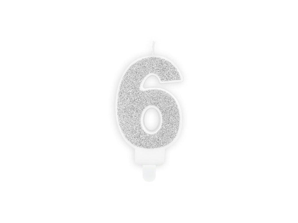 Narozeninová svíčka 6, stříbrná, 7cm