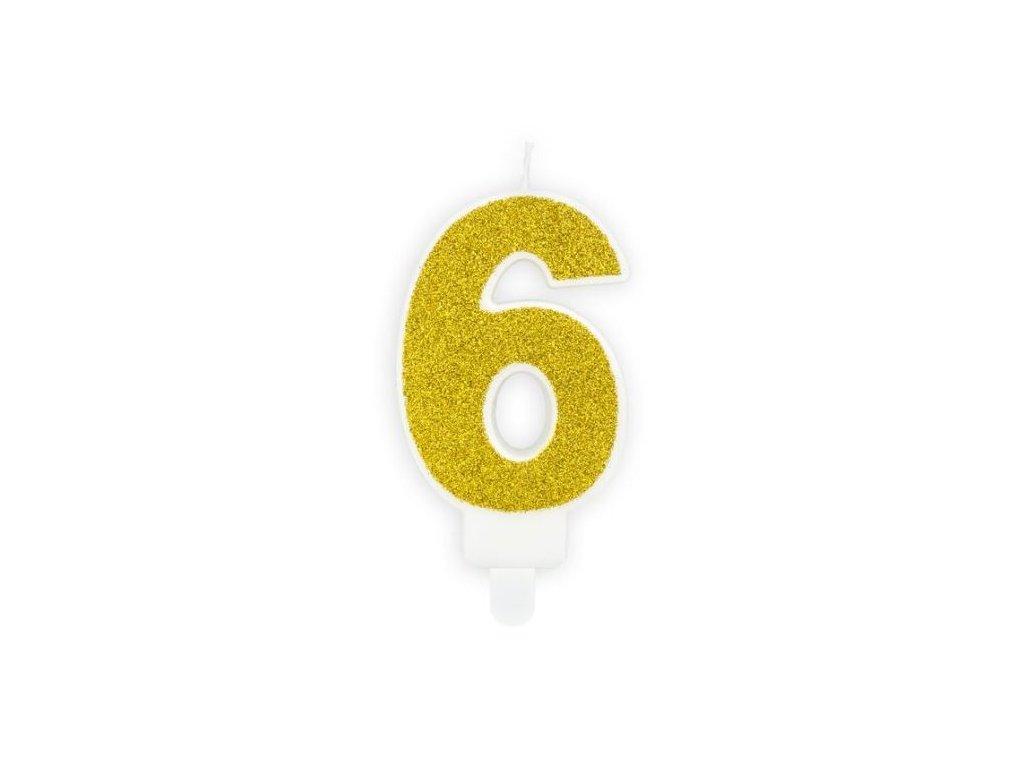 Narozeninová svíčka 6, zlatá, 7cm