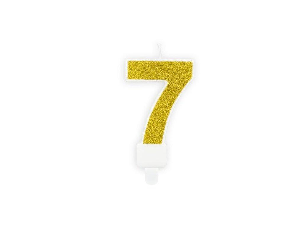 Narozeninová svíčka 7, zlatá, 7cm
