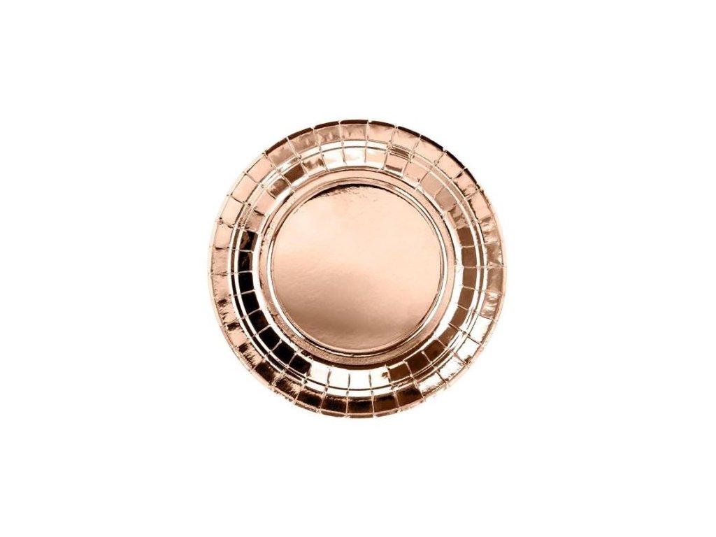 Papírové talíře, růžovo zlaté - rose gold, 18cm, 6 ks