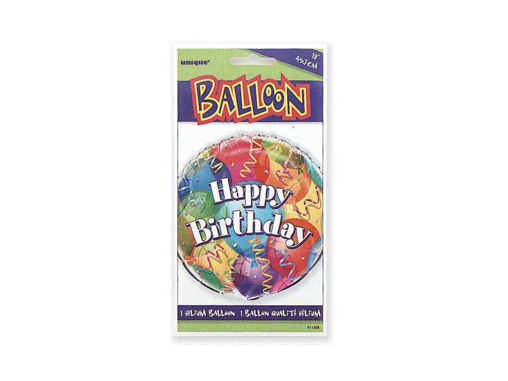 FOLIOVÝ BALÓN narozeniny - Happy Birthday - 45 cm