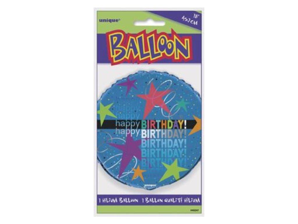 BALON FOLIOVÝ narozeniny - Happy Birthday - hvězdičky - 45 cm
