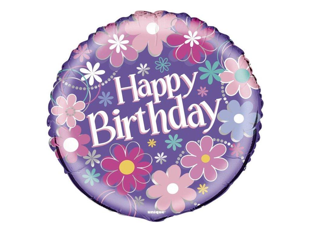 BALON FOLIOVÝ narozeniny - Happy Birthday květy - 45 cm