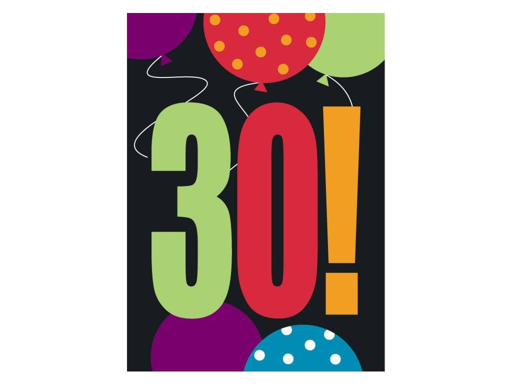 POZVÁNKY - HAPPY BIRTHDAY - narozeniny - 8 KS - 30. LET