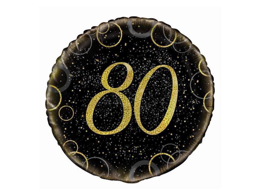 BALÓN FOLIOVÝ 45 CM 80. let - černozlatý