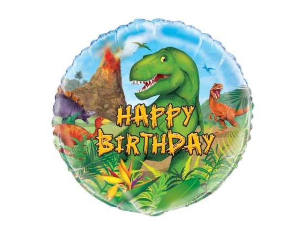 Balon foliový narozeniny - Happy Birthday - DINOSAURUS - 45 cm