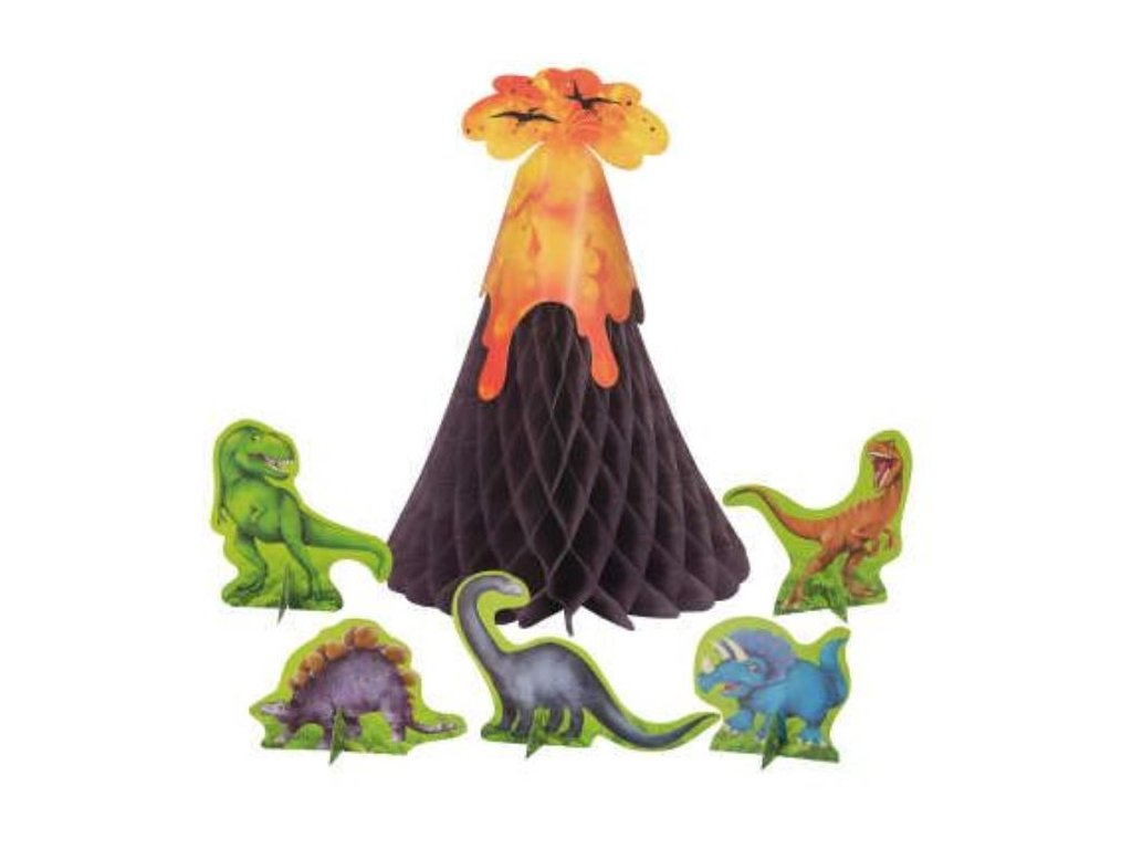 Papírová dekorace sopka + dinosauři / DINOSAURUS