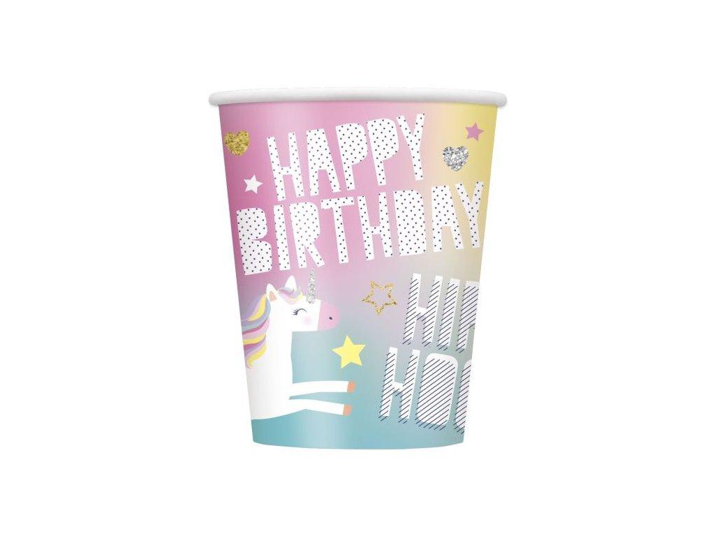 Kelímky JEDNOROŽEC - UNICORN - narozeniny - 8ks, 270 ml