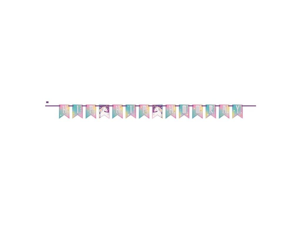 "Girlanda Jednorožec - Unicorn ""HIP-HIP HOORAY"" - 213 cm"