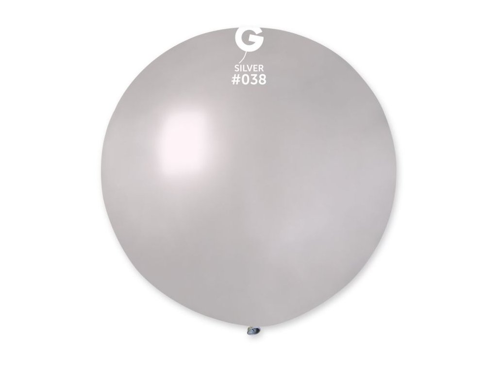Balón latex metalický 80 cm - stříbrný 1 ks