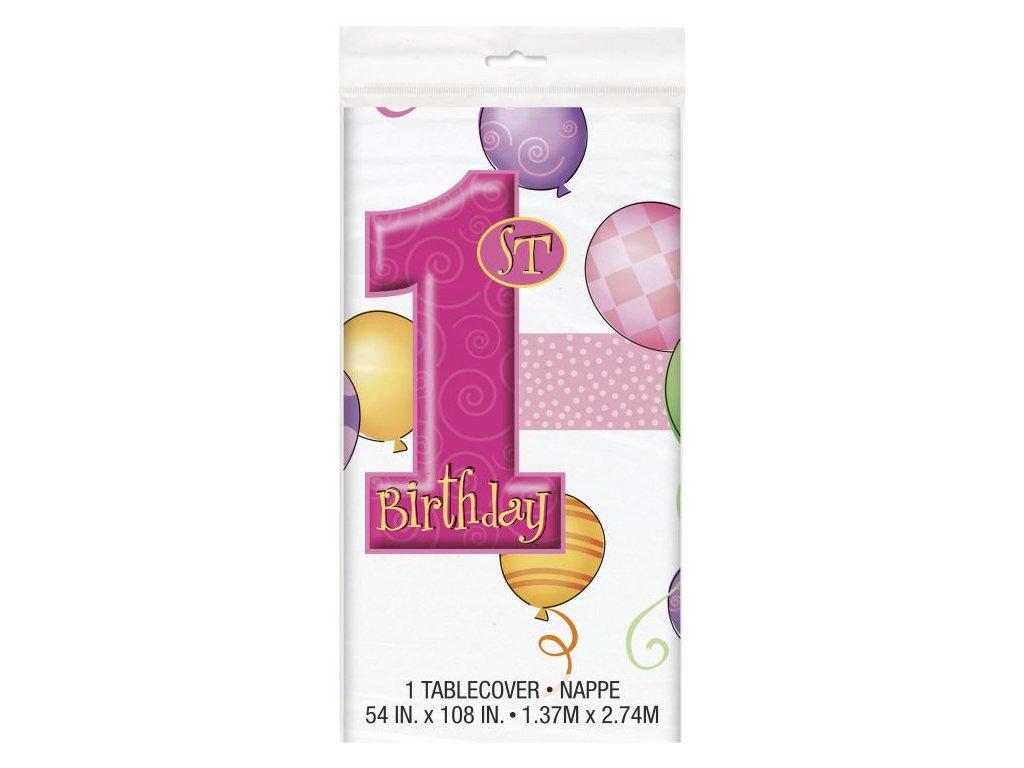 Ubrus 1. narozeniny růžový - holka -137 x 213 cm - Happy birthday