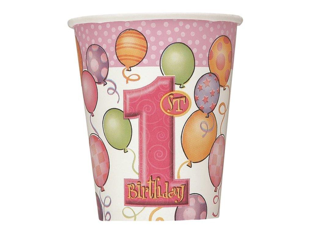 Kelímky - růžové 1. narozeniny - 8 ks - 270 ml - Happy birthday