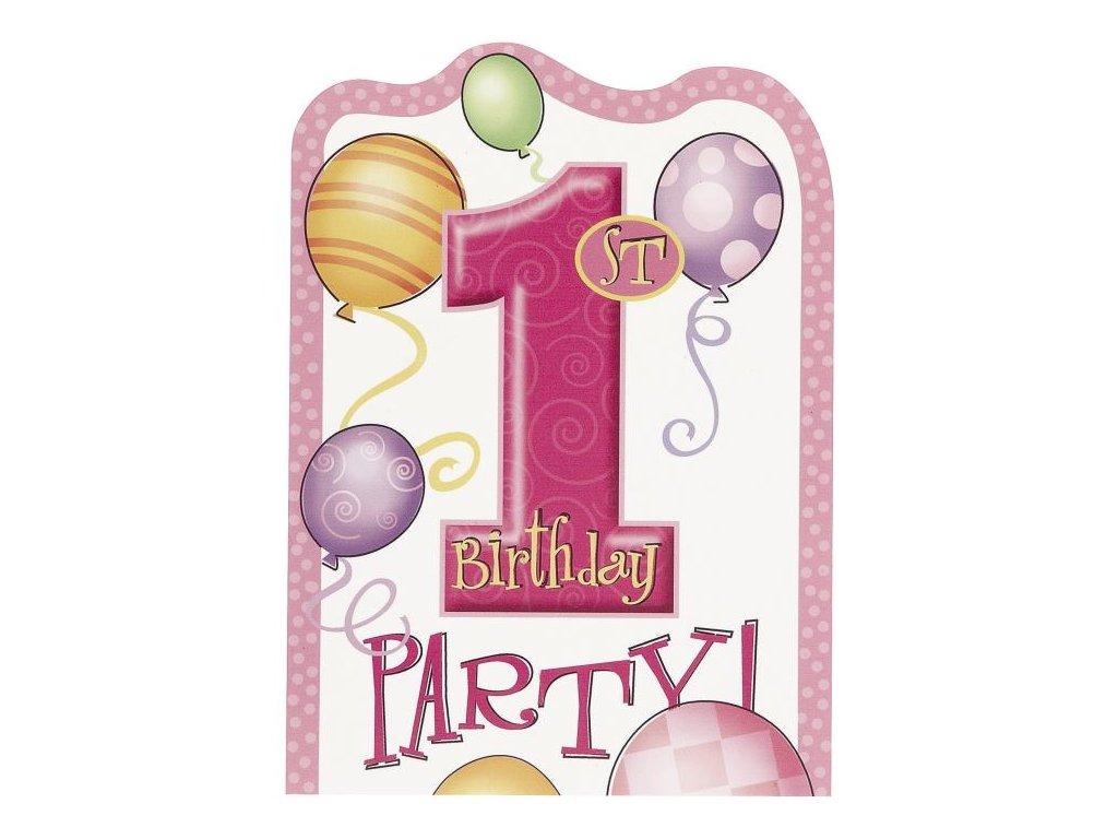 Pozvánky 1. narozeniny HOLKA - růžová - 8 ks - Happy birthday