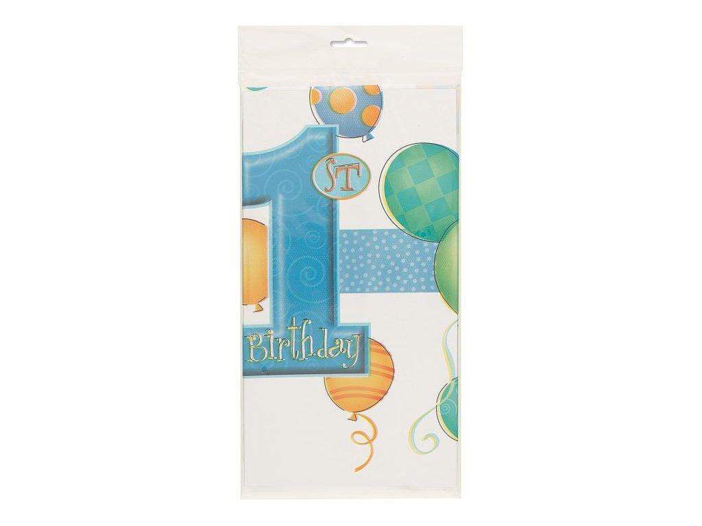 Ubrus 1. narozeniny - kluk - 137 x 213 cm - modrý - Happy birthday