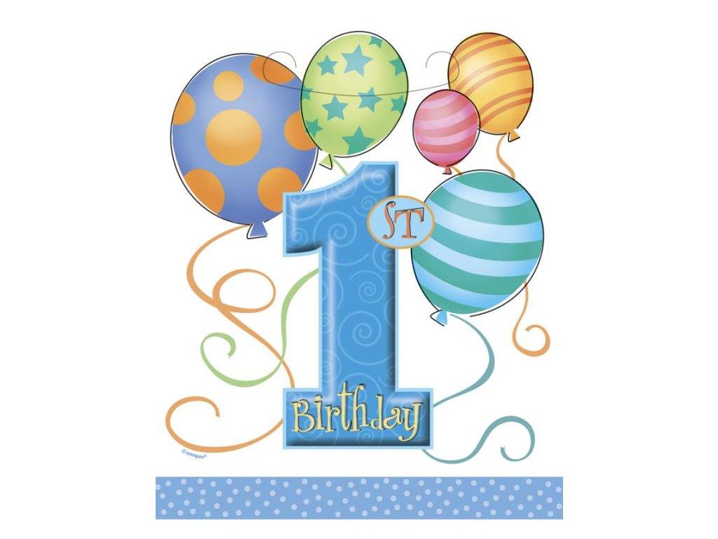 Dárková taška 1. narozeniny - modrá igelitová - 8 ks -18,5 x 23 cm - Happy birthday