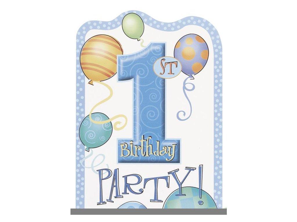 Pozvánky 1. narozeniny 8 ks modré