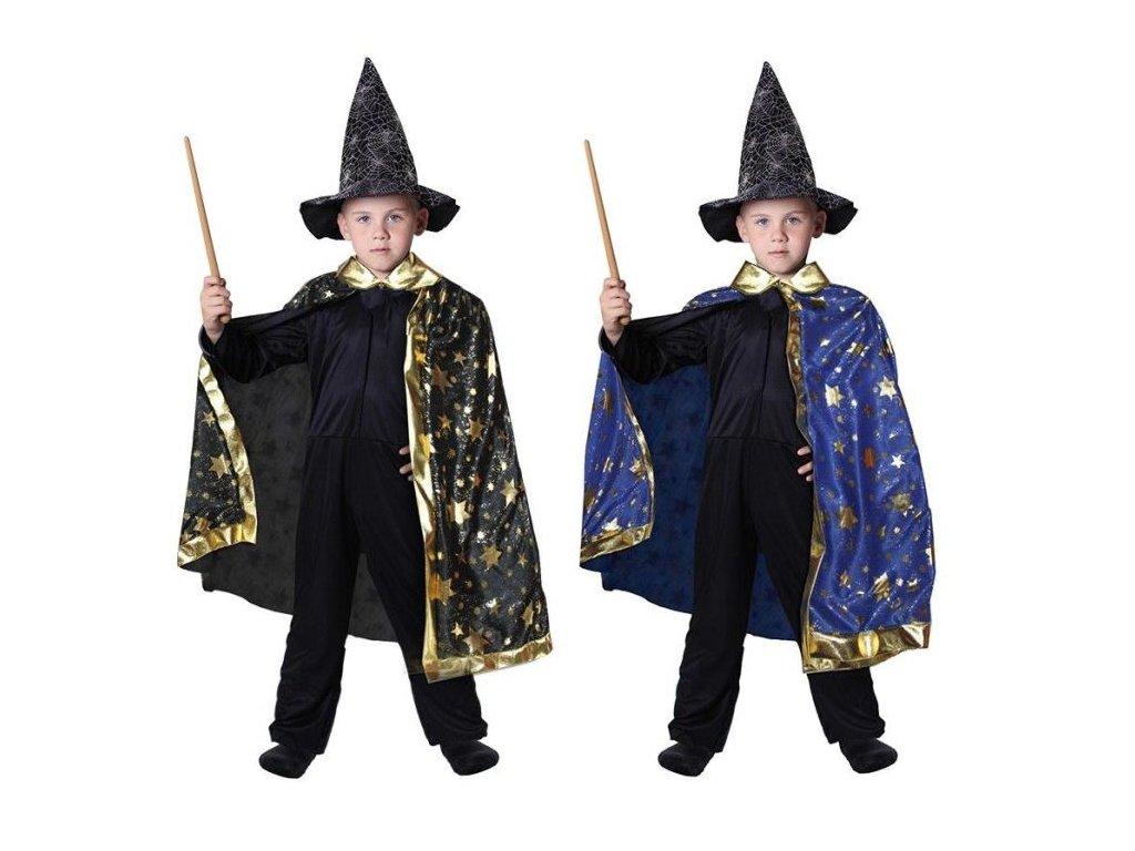 Kostým - plášť kouzelník MODRÝ - vel. 3-10 let (104-110 cm)