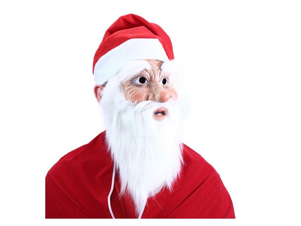 maska Santa Claus s vousy a čepicí - vánoce