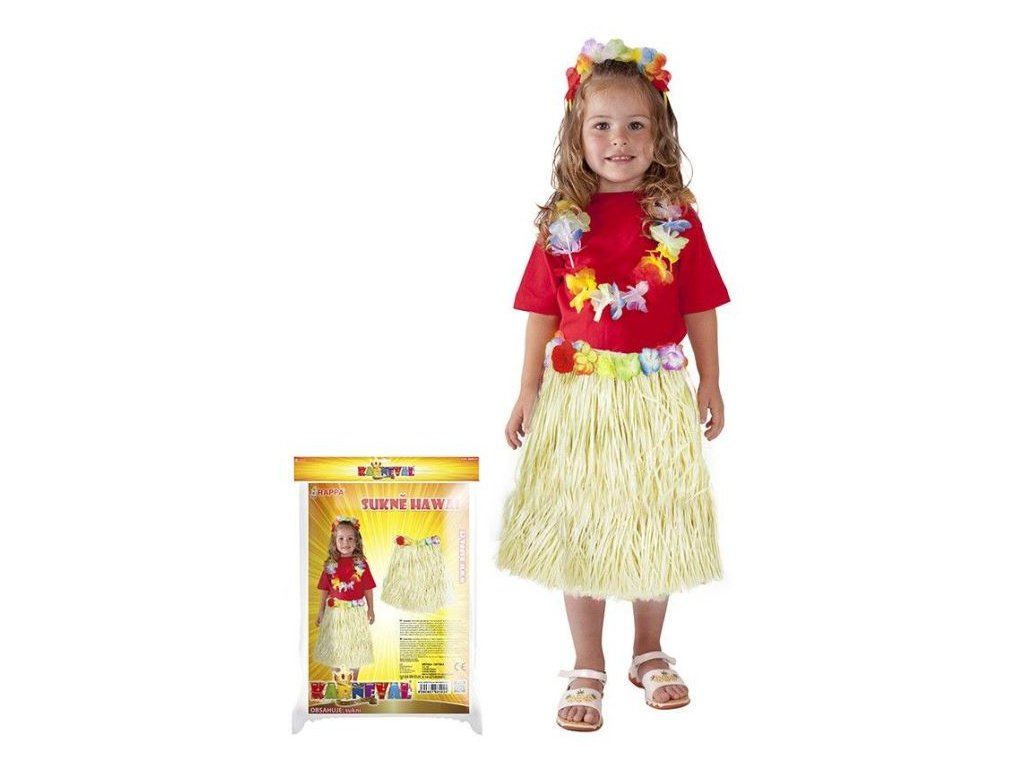 Sukně Havaj - Hawaii dětská 45 cm přírodní