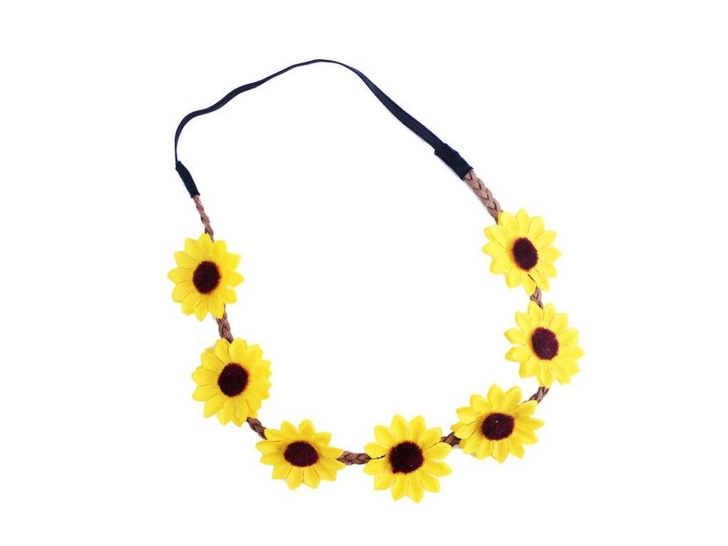 čelenka květy - květina žlutá - Hippie - Hipís