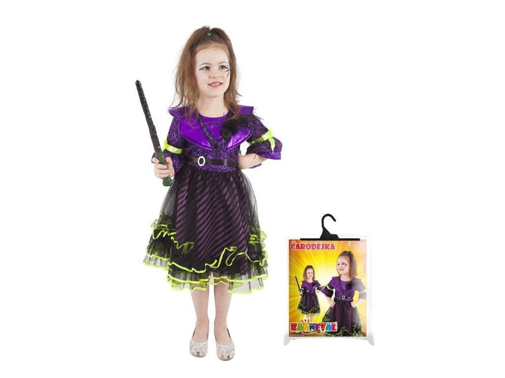 karnevalový kostým čarodějnice/halloween fialová vel. L