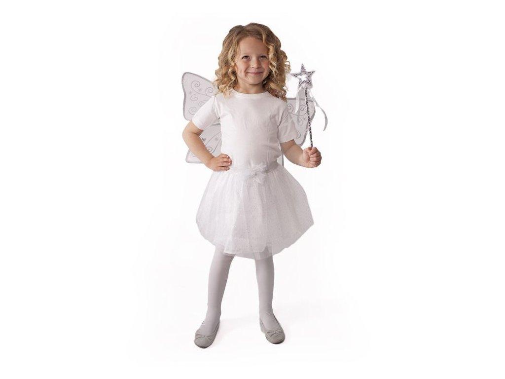Kostým tutu sukně bílý motýl s křídly a hůlkou